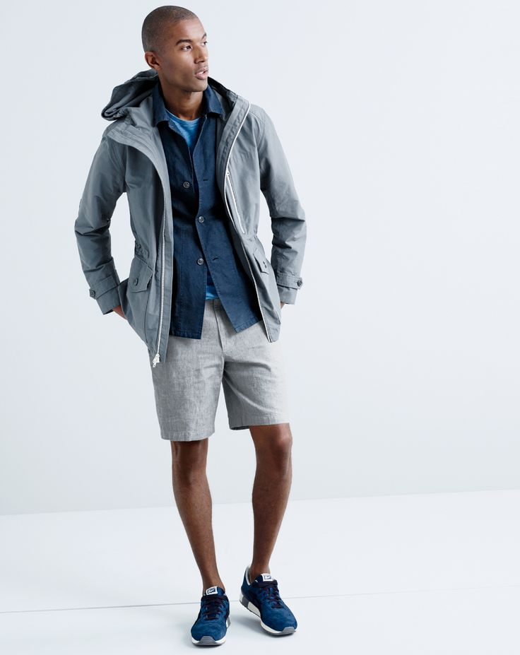 "J.Crew men's cotton-nylon x250 hooded jacket, Wallace & Barnes garment-dyed cotton-linen shirt-jacket, Wallace & Barnes indigo pocket T-shirt, 9"" Stanton short in Irish herringbone linen and Onitsuka Tiger® Tiger Alliance™ sneakers."