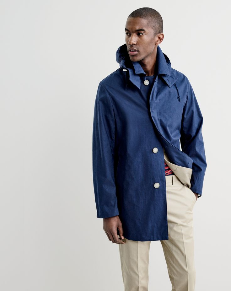 J.Crew men's Traditional Weatherwear™ hooded Derby raincoat, Ludlow suit jacket in Italian chino, heathered T-shirt in warm red stripe and Ludlow suit pant in Italian chino.