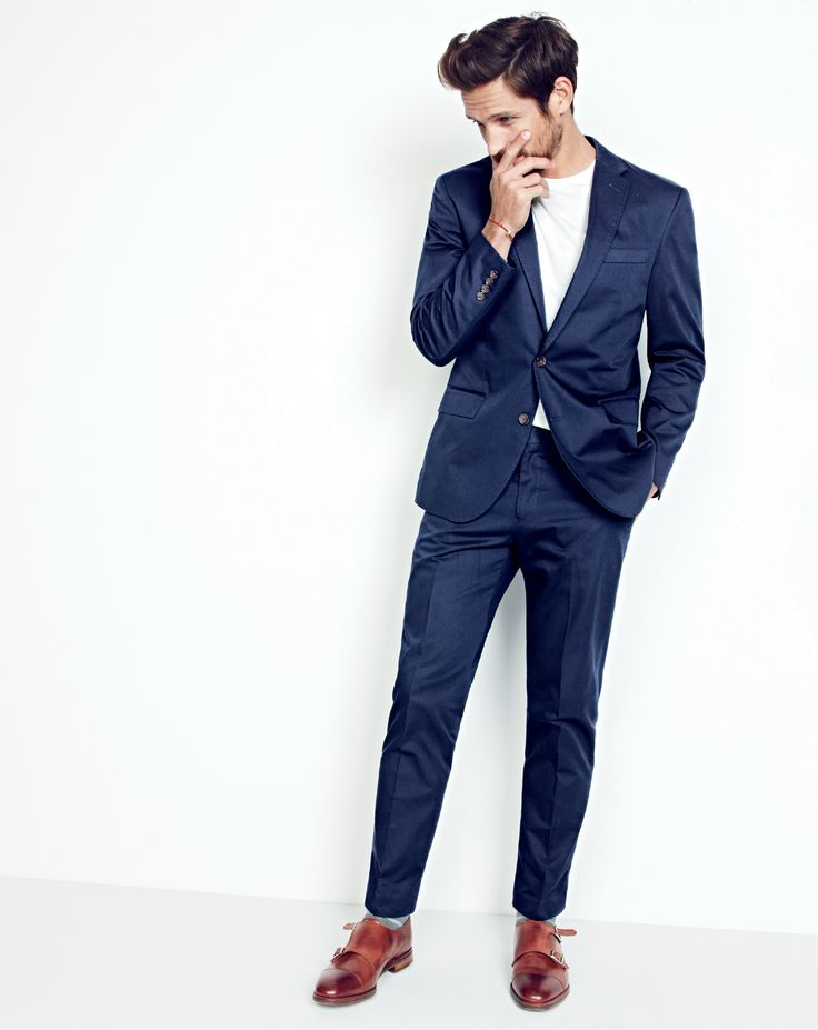 J.Crew men's Crosby suit jacket in Italian chino, broken-in pocket T-shirt, Crosby suit pant in Italian chino and Alfred Sargent™ for J.Crew double monk strap shoes.