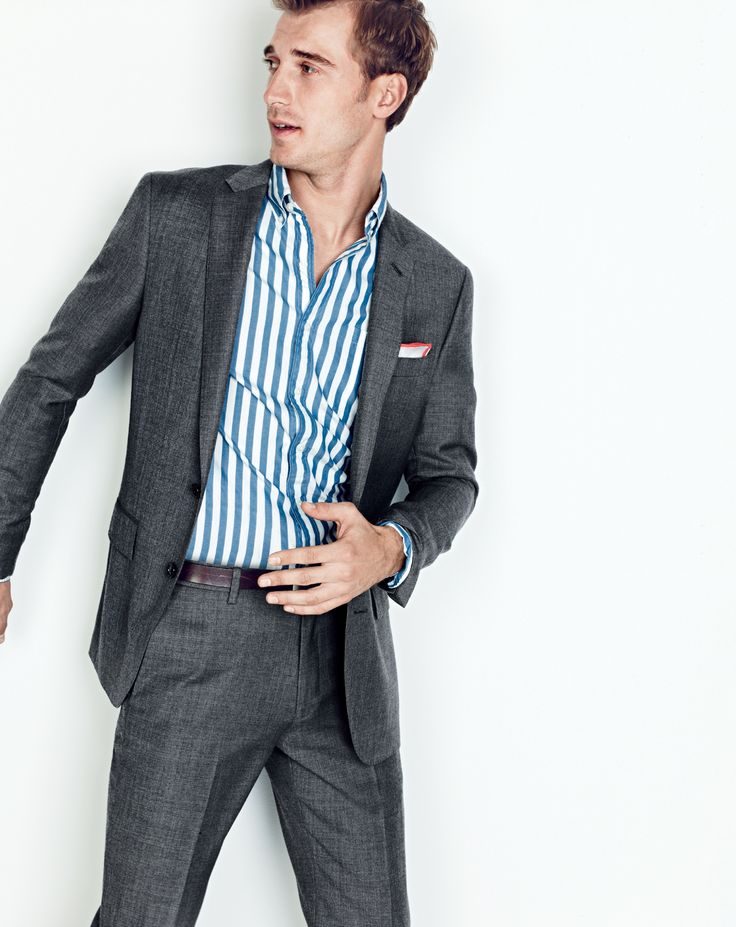 J.Crew men's Ludlow suit jacket, slim Secret Wash shirt in Brunswick stripe, Ludlow suit pant, tipped Italian linen pocket square and classic leather belt with removable silver-plated buckle.