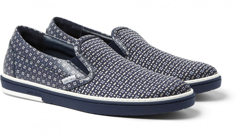 Jimmy Choo Grove Jacquard Printed Leather Slip-on Sneakers