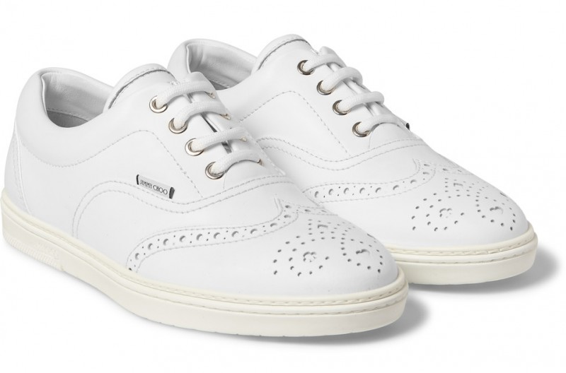 Jimmy Choo White Leather Wingtip Sneakers