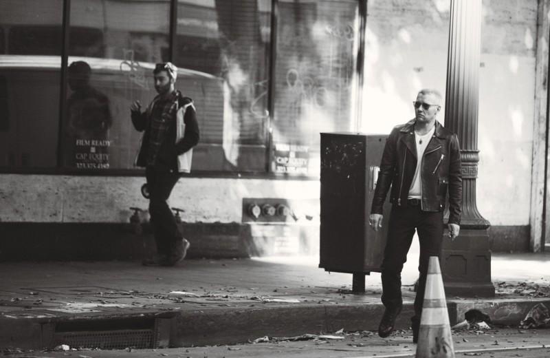 Joel Edgerton wears a trendy leather biker jacket for W magazine.