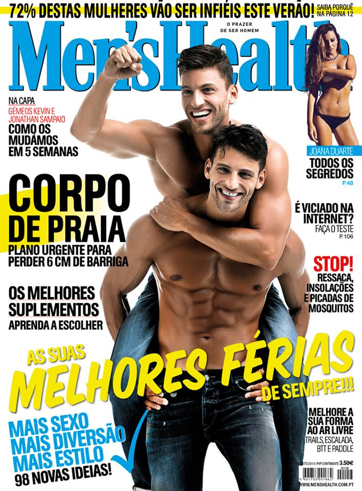 Hailing from Portugal, Jonathan and Kevin Sampaio are the ultimate twin package. The Sampaio brothers have been a popular fixture on the high fashion circuit, regularly working with clients such as Dolce & Gabbana and Giorgio Armani. A career highlight included working with photographers Mert & Marcus for Dsquared2's spring-summer 2011 campaign. Photo Credit: Jonathan and Kevin Sampaio cover the August 2014 issue of Men's Health.