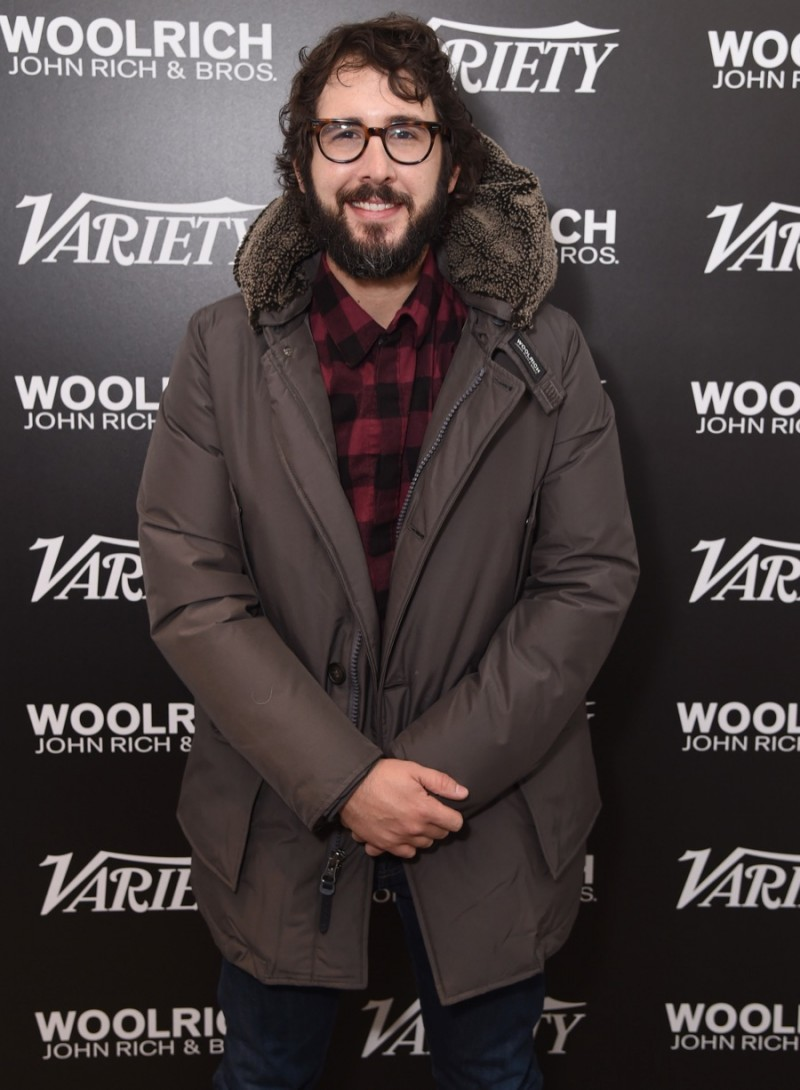 Josh Groban poses for a photo in Woolrich John Rich & Bros. at the 2016 Sundance Film Festival.