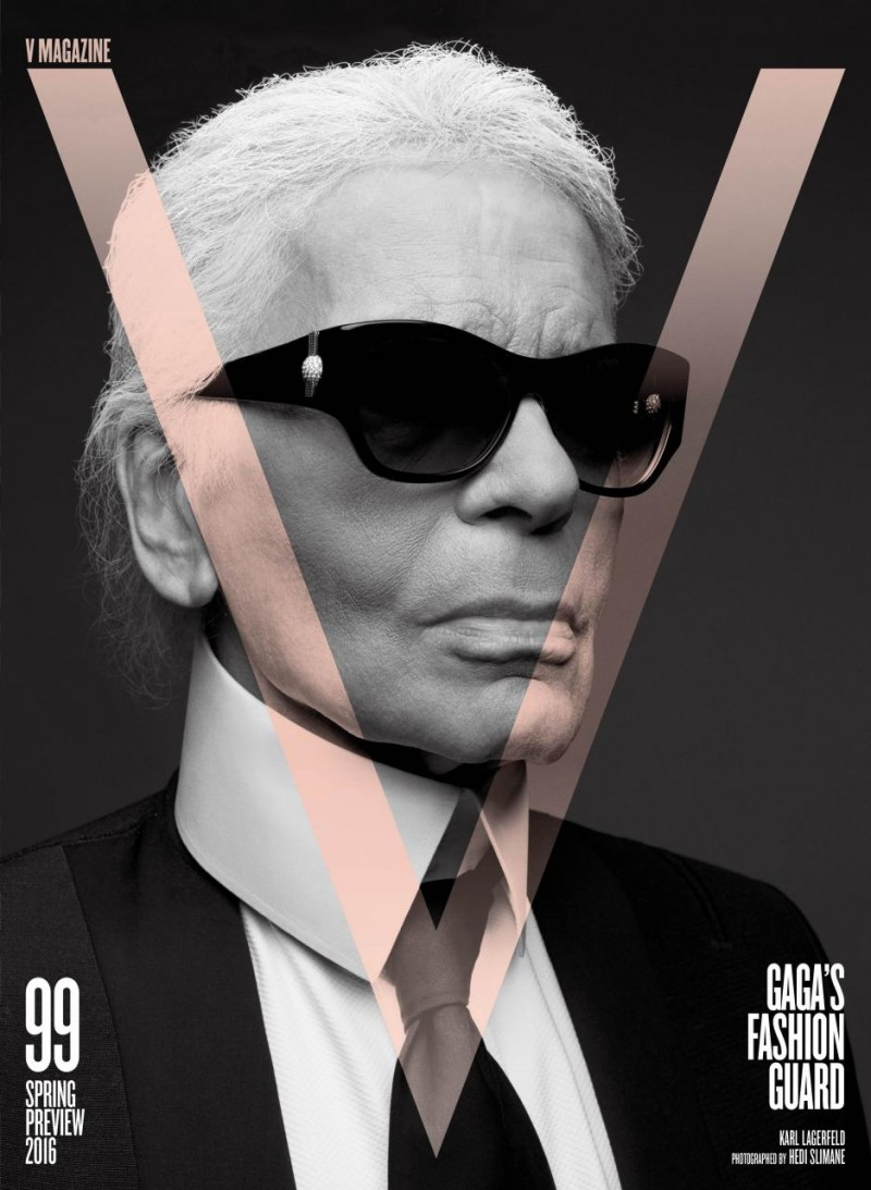 Karl Lagerfeld covers V magazine photographed by Hedi Slimane.