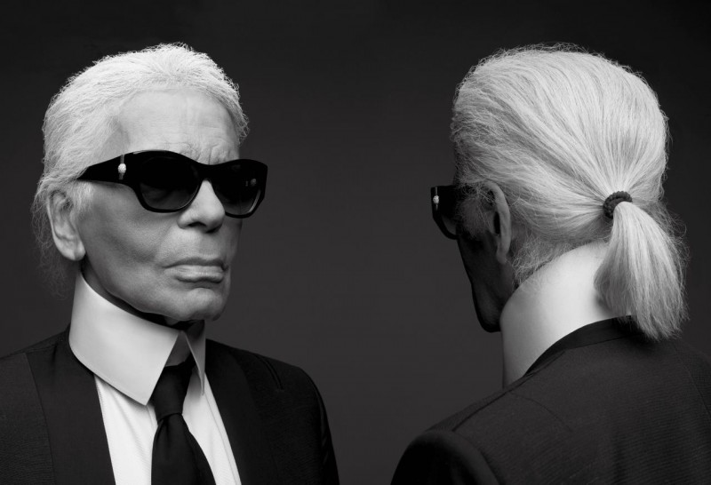 Karl Lagerfeld photographed for V magazine.