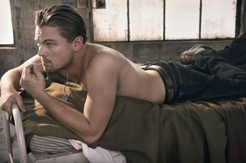 Leonardo DiCaprio poses in Levi's denim jeans for a 2008 issue of Rolling Stone.
