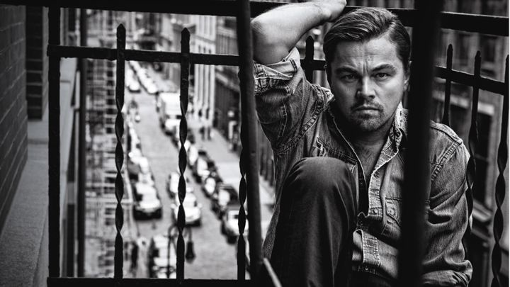 Leonardo DiCaprio wears a denim shirt as he poses for the pages of Rolling Stone.
