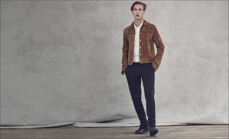 Point-collar suede jacket and cotton and linen-blend twill trousers, both by Maison Margiela. Piqué polo shirt by Paul Smith. Intrecciato leather low-top trainers by Bottega Veneta.