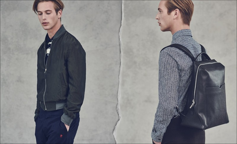 LEFT: Technical bomber jacket by Paul Smith. Striped polo shirt by Loewe. Zip-leg track pants by Alexander McQueen. RIGHT: Herringbone-print shirt by Maison Margiela. Zip-around leather backpack by Valextra. Stirling slim-leg wool-blend trousers by Burberry London.