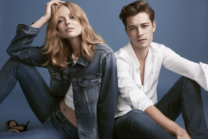 Frida Gustavsson and Francisco Lachowski hit the studio in Mavi's spring-summer 2016 collection.