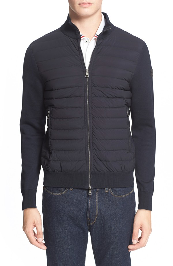 Moncler Quilted Sweater Knit Track Jacket