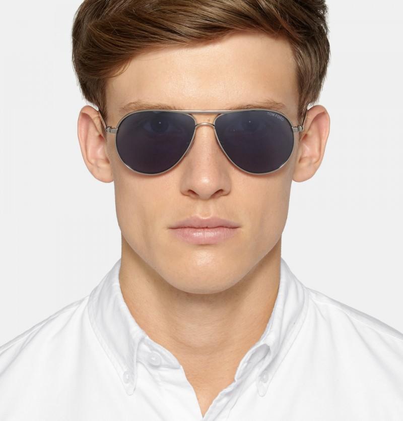 Tom Ford Marko Aviator Style Metal and Acetate Polarized Sunglasses