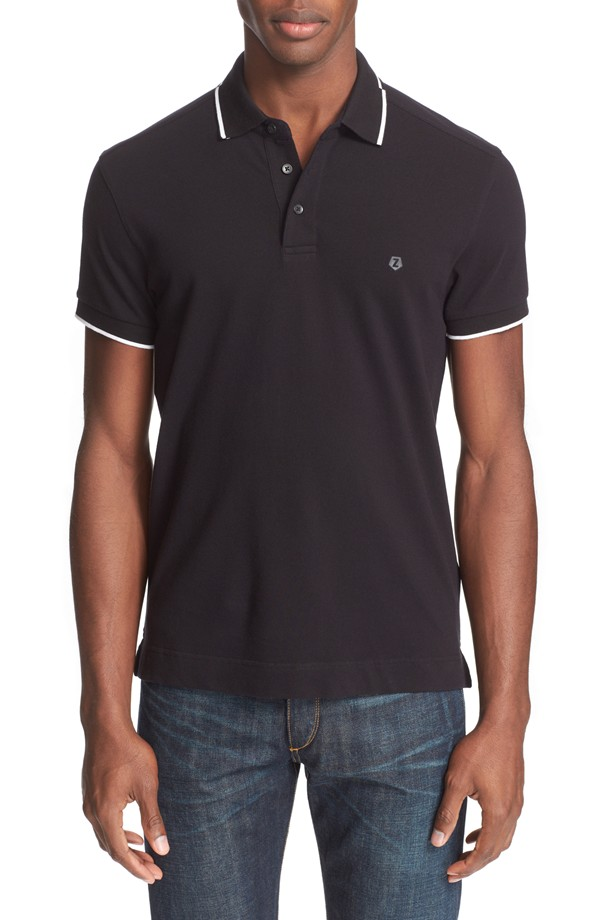 Z Zegna Broken Stripe Tipped Polo