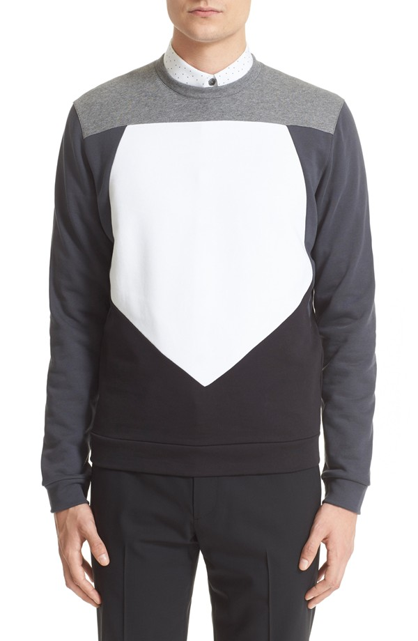Z Zegna Pieced Pentagon Colorblock Sweatshirt