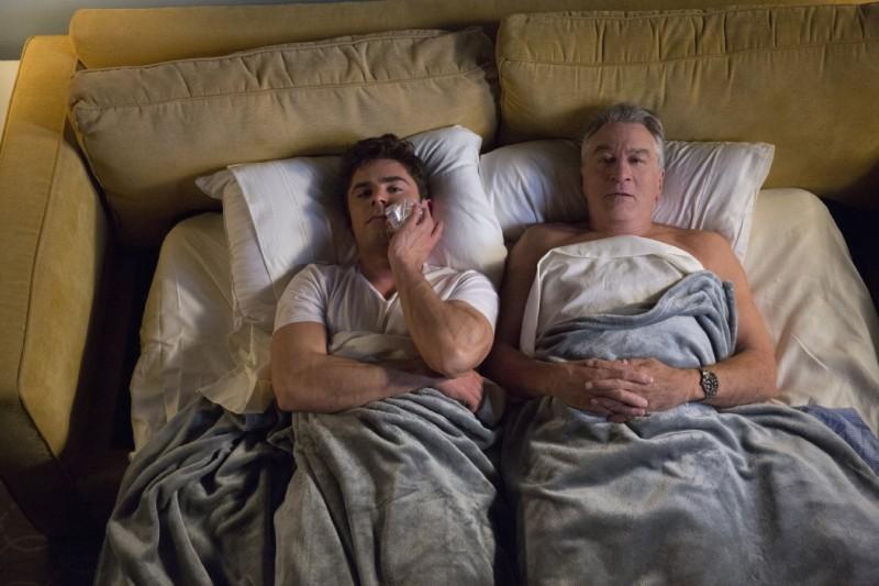 Zac Efron and Robert De Niro captured in bed for Dirty Grandpa.