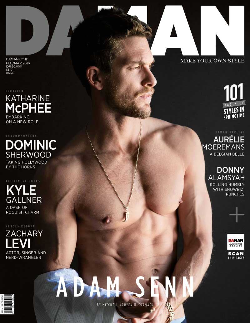 Adam Senn goes shirtless for the February/March 2016 cover of DA MAN.