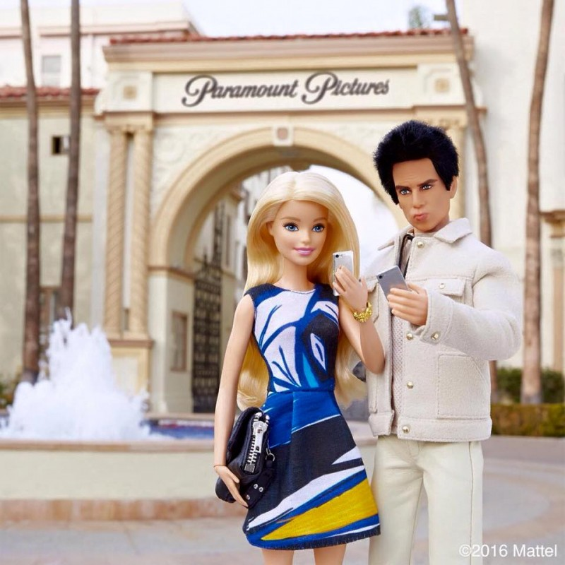 Barbie and Derek Zoolander pose for a selfie at Paramount Pictures.