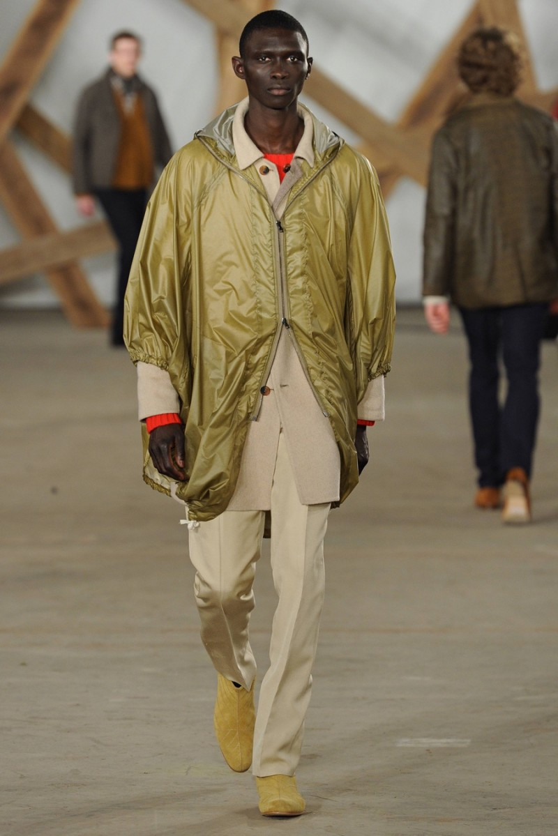 Billy Reid approaches each collection with careful consideration to utilitarian fashions as evidenced by a smart rain jacket.