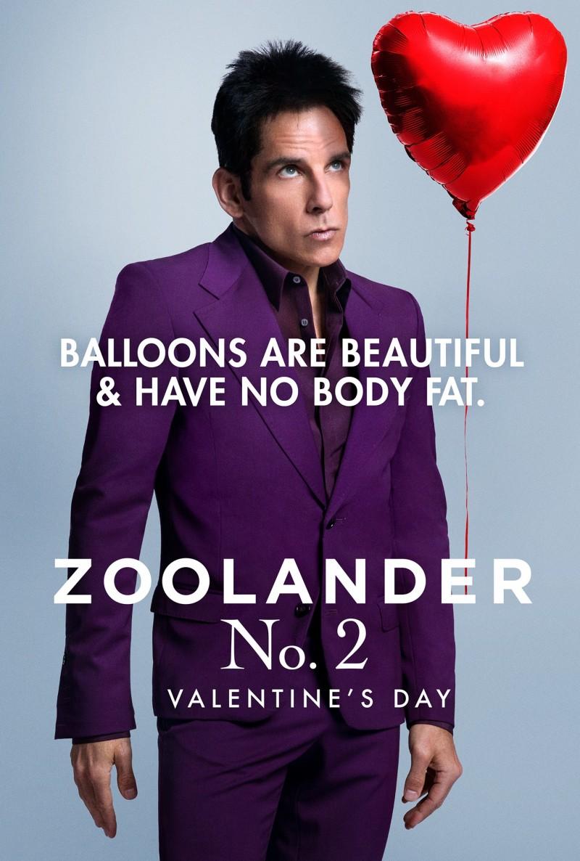 Donning a purple suit, Ben Stiller is Derek Zoolander for a Zoolander No. 2 Valentine's Day poster.