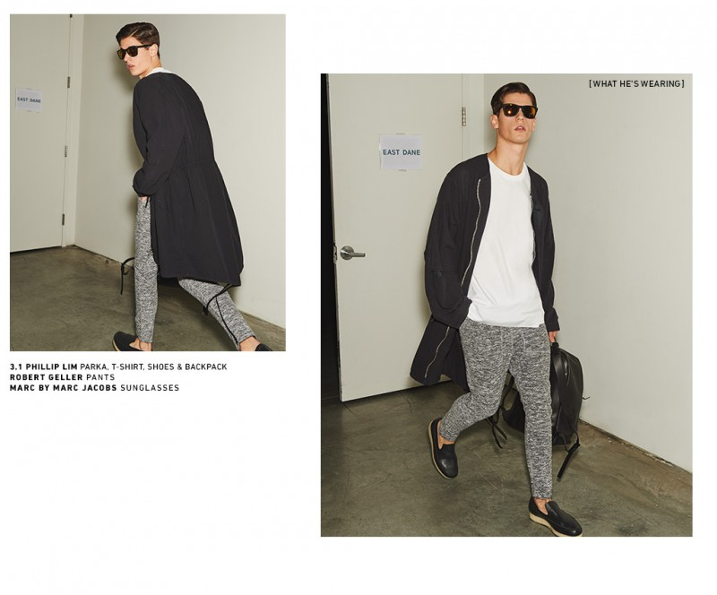 Nate Hill goes casual in 3.1 Phillip Lim, Robert Geller and Marc by Marc Jacobs.