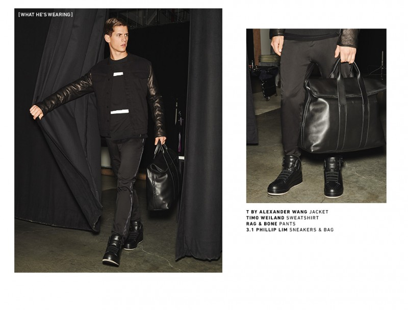 Nate Hill sports all black, wearing trendy streetwear-inspired fashions from the likes of T by Alexander Wang.
