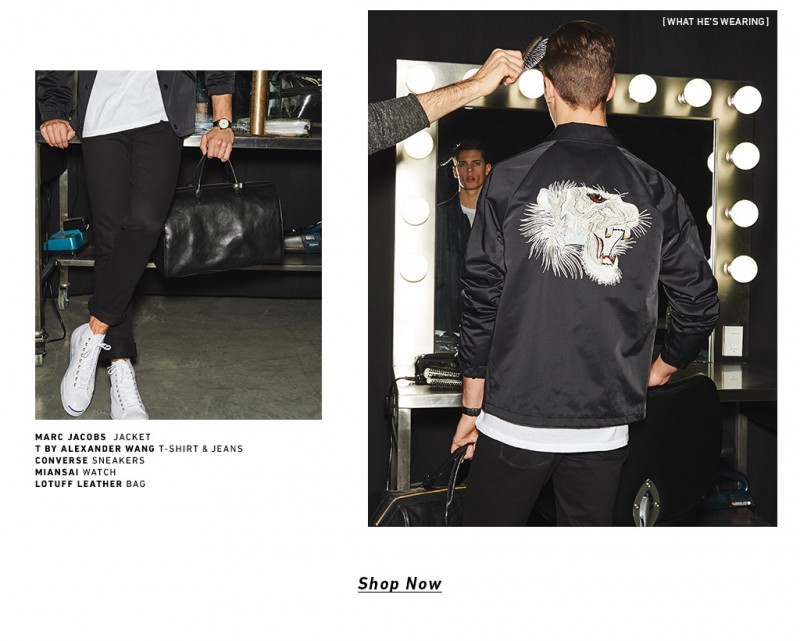 Nate Hill wears a Marc Jacobs jacket with T by Alexander Wang jeans.