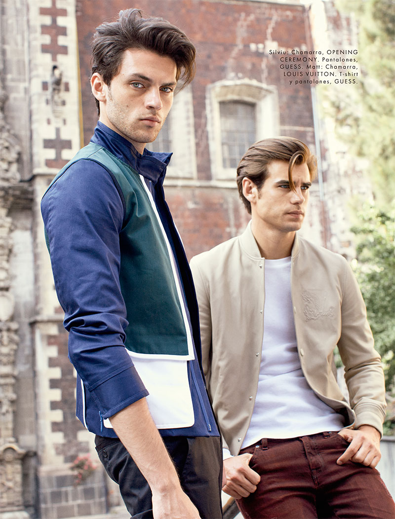Models Silviu Tolu and Matt Trethe photographed in GUESS for Elle Man Mexico.