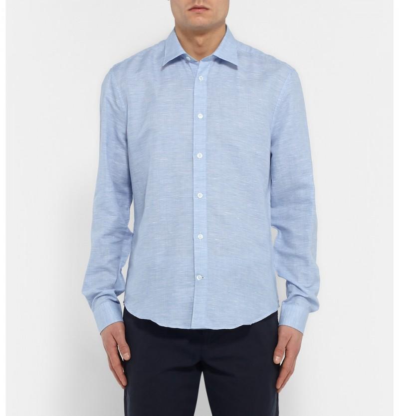 Gieves & Hawkes Blue Cutaway Collar Checked Linen Blend Shirt