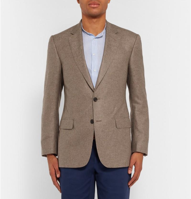 Gieves & Hawkes Brown Slim-Fit Silk Cashmere Blazer