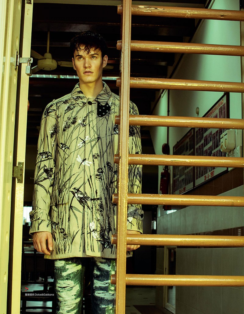 Charles Markham appears in Harper's Bazaar Man China, wearing a nature print look from Dolce & Gabbana.