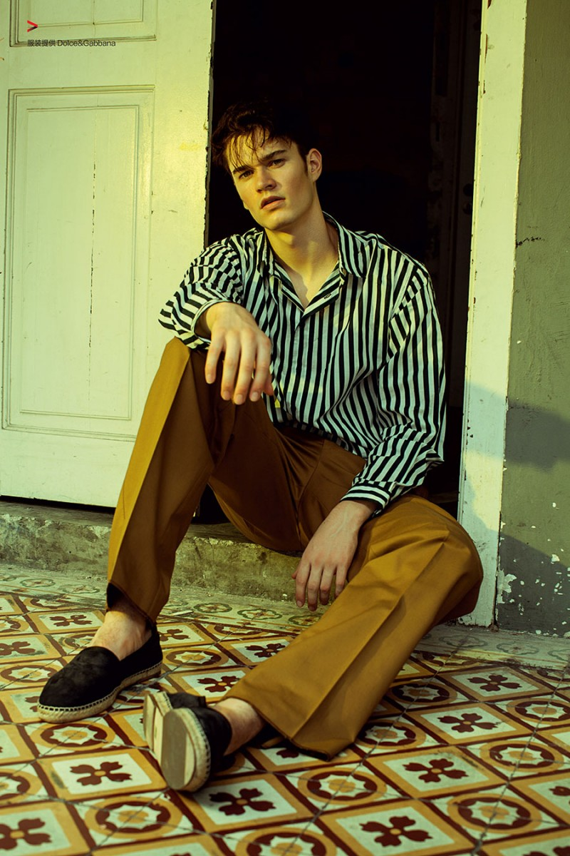 Charles Markham models relaxed tailoring from Italian fashion house Dolce & Gabbana.