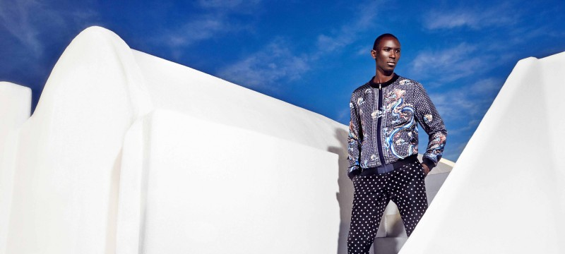 Armando Cabral mixes patterns, wearing fashions from Dolce & Gabbana.