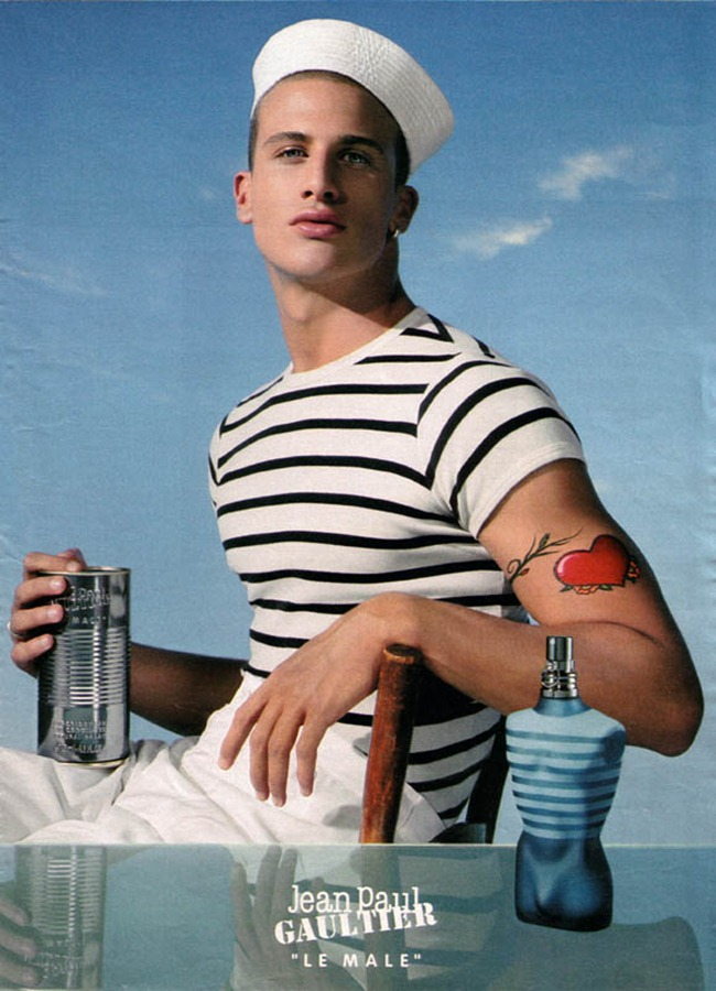 Jean Paul Gaultier 2001 Le Male Fragrance Campaign with model Samuele Riva.