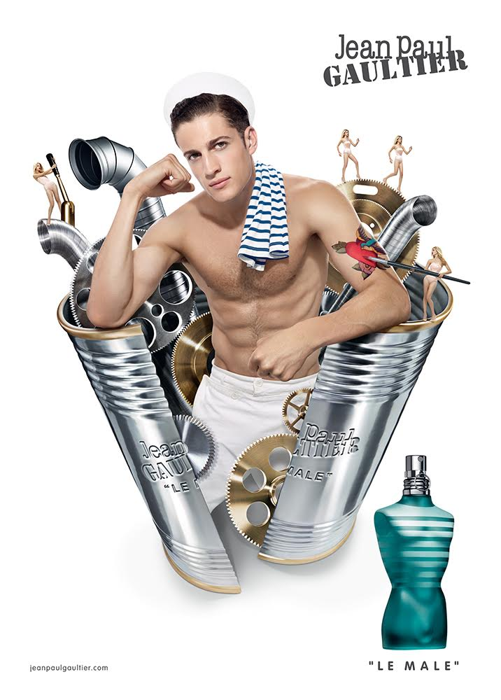 949fdbd8eb Jean Paul Gaultier Le Male fragrance campaign featuring model Chris Bunn.