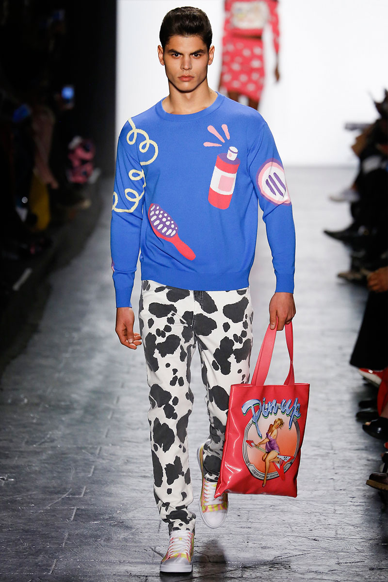 4442652a7318 Jeremy Scott ups the camp factor with an homage to grooming products and a  bold cow