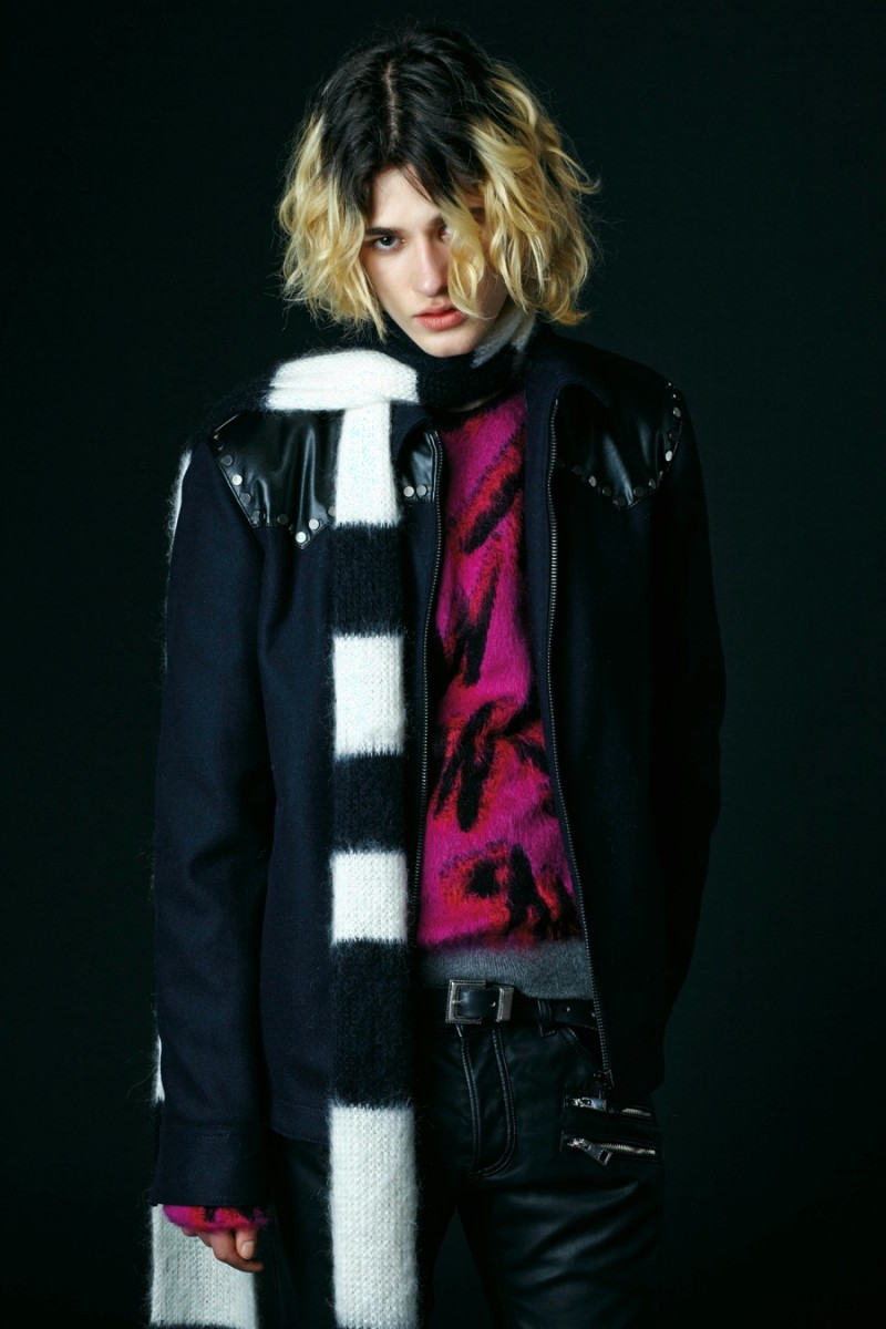 Just Cavalli champions the long striped scarf for its pre-fall 2016 men's collection.