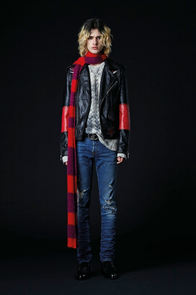 Having a grunge moment, Just Cavalli embraces ripped distressed denim for fall. Leather biker jackets are also included in the mix.