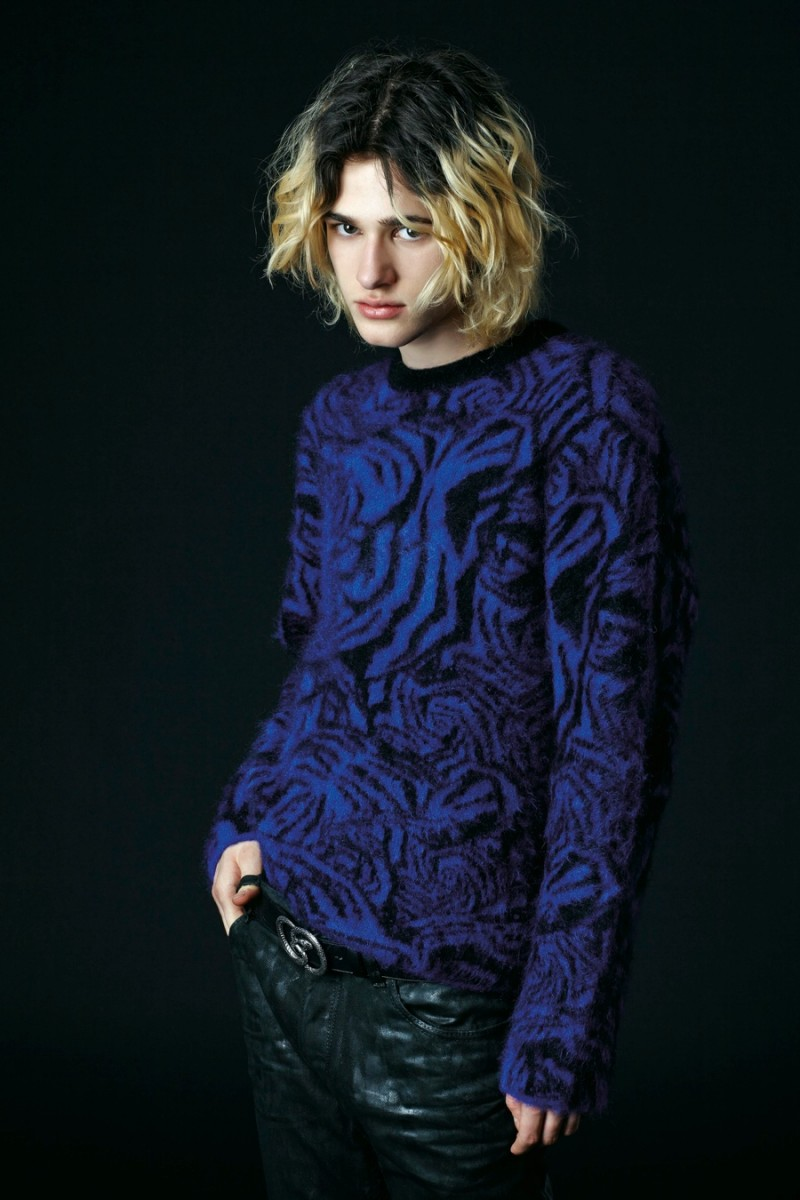Just Cavalli's signature prints dress sweaters for the season.