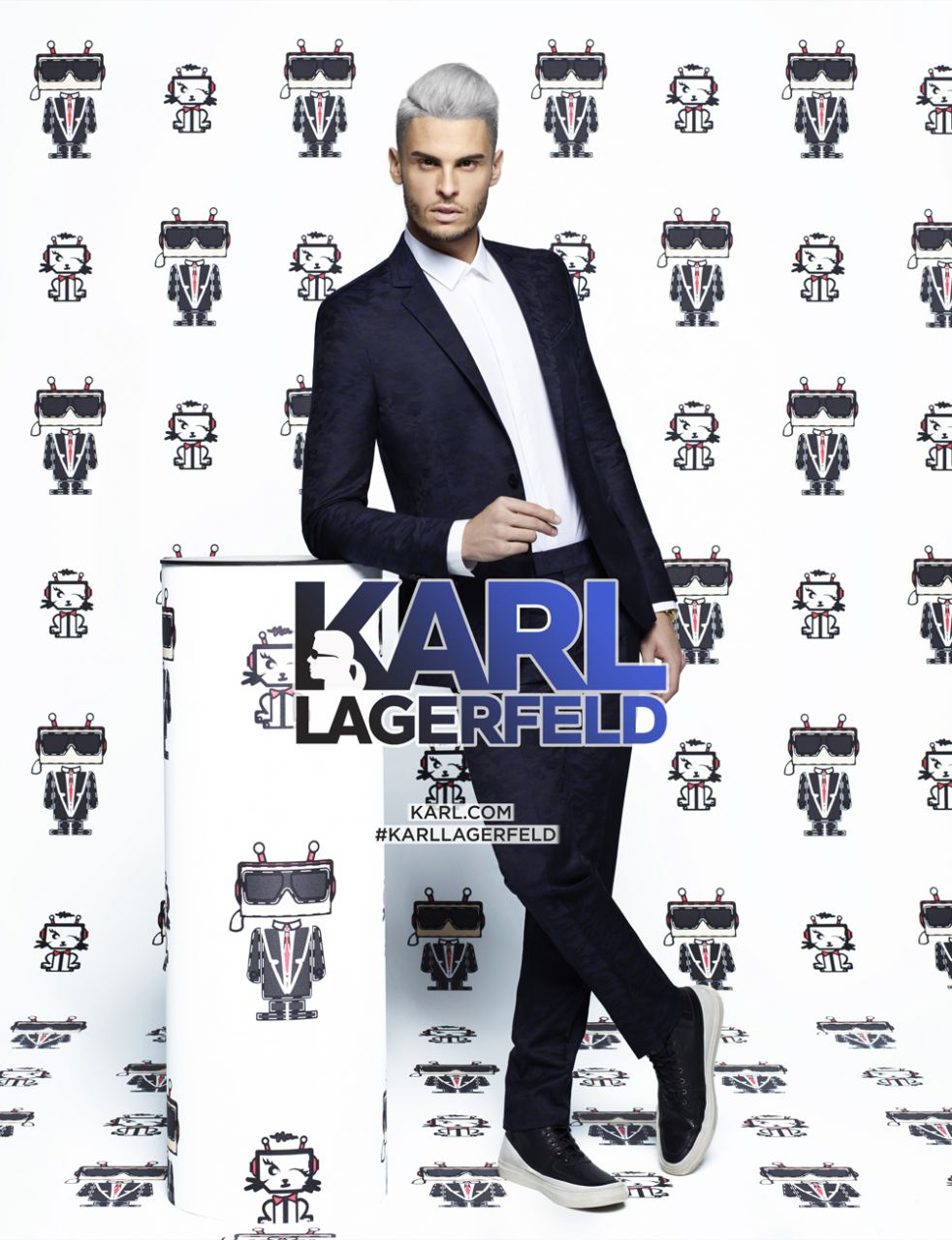 Baptiste Giabiconi Goes Grey for Karl Lagerfeld Campaign