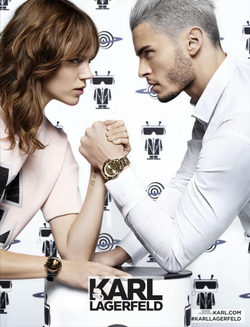 Freja Beha Erichsen and Baptiste Giabiconi arm wrestle for Karl Lagerfeld's spring-summer 2016 campaign.