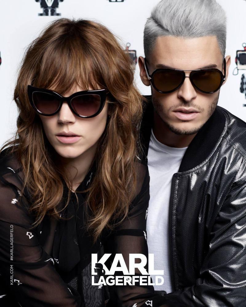 Freja Beha Erichsen and Baptiste Giabiconi fronts Karl Lagerfeld's spring-summer 2016 eyewear campaign.