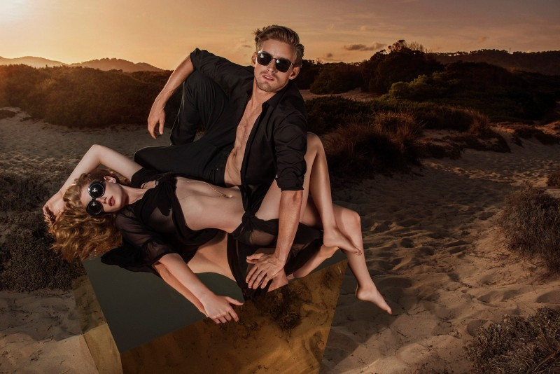 Models RJ King and Hollie May Saker for Linda Farrow's spring-summer 2016 campaign.