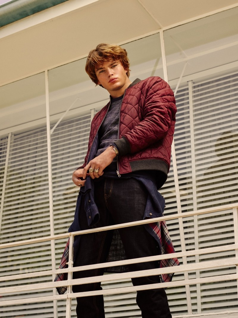 Jordan Barrett sports a quilted jacket for Marcs' fall-winter 2016 campaign.