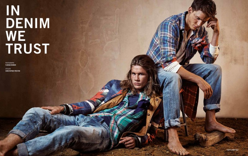 Models James Phillips and Sang Woo Kim model denim and plaid work shirts for the pages of Apollo magazine.