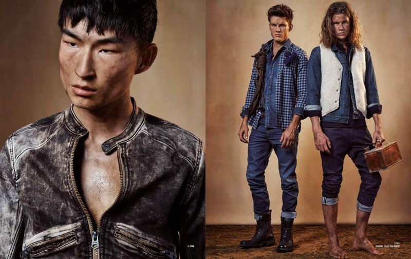 Pictured left, Sang Woo Kim models a moto style jacket from G-Star. Meanwhile, Chris Doe and James Phillips deliver denim blue looks from Levi's.