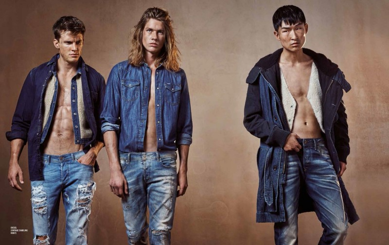 Chris Doe, James Phillips and Sang Woo Kim make for quite the model trio in double denim looks for Apollo magazine.