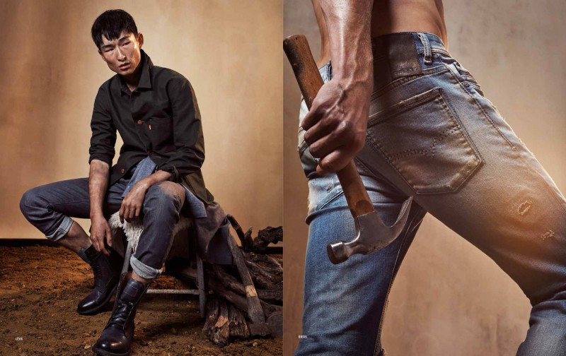 Sang Woo Kim models a workwear-inspired look from Levi's.