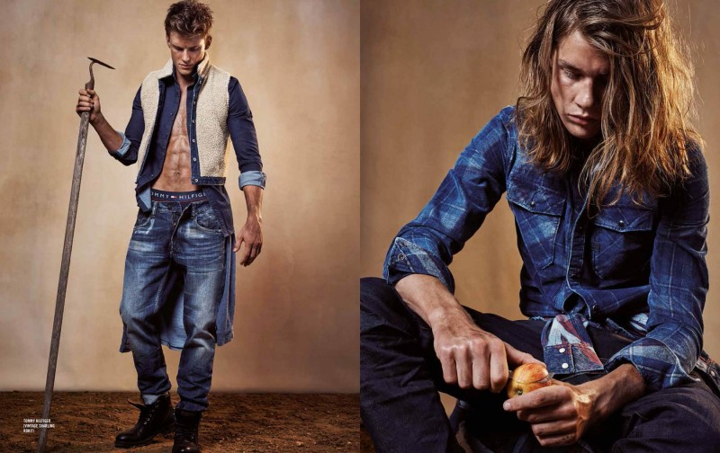 Photographed left, Chris Doe models distressed denim from Tommy Hilfiger. Pictured right, James Phillips wears a plaid print denim shirt.